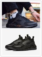 Wholesale 36 Air Huarache Ultra Breathe running man shoes all BLACK Coarse mesh black white women brand sports sneakers Fine mesh