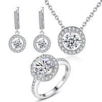 Wholesale Elegant K White Gold Plated Brass AAA Cubic Zircon CZ Stone Wedding Bridal Jewelry Set for Women Rings Necklace Earrings