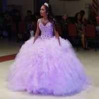 beads acetates - Lavender Crystals Ball Gown Quinceanera Dresses V Neck Organza Pleat Acetate Floor Length Vestidos De Anos Sweet Dresses
