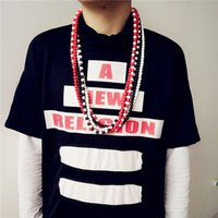 Wholesale Hip hop wood cylindrical multi color mixed necklace Chain punk jewelry