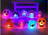 african lamp - Halloween led flash soft rubber ring Children s Halloween pumpkins skeleton LED finger lamp light emitting toys mix design