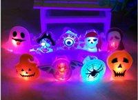 asian lamps - Halloween led flash soft rubber ring Children s Halloween pumpkins skeleton LED finger lamp light emitting toys mix design