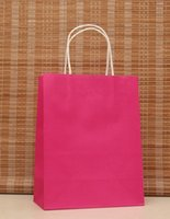 Wholesale Multifunction rose pink paper bag with handles x15x8cm Festival gift bag good Quality shopping kraft paper bags