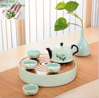 bamboo lighting - Hot Sale with High quality set Green ceramic tea sets portable travel round home tea pot with bamboo tea tray