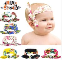 baby ear rings - 2016 Baby newborn rabbit ears headband knot peony ring Headbands knot headwrap hairband Hot style children hair accessories