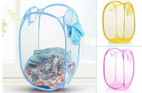 Wholesale New Mesh Fabric Foldable Pop Up Dirty Clothes Washing Laundry Basket Bag Bin Hamper Storage for Home Housekeeping