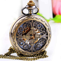 antique chestnut - Genuine new large antique carved classical mechanical ideas large four water chestnut pocket watch pendant necklace