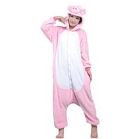 Wholesale Cartoon Onesies For Adults - Lovers Pig Unisex Adults Flannel Hooded Onesies Pajamas Cosplay Cartoon Animal Sleepwear For Women Men