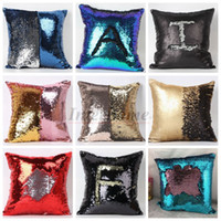 Wholesale Cushioned Car Covers - Sequin Pillow Case Sequin Pillowslip 2 Tone Color Pillow Case Reversible Cushion Cover Home Sofa Car Decor Mermaid Pillow Covers B673 50