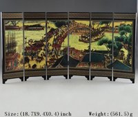 Wholesale From salewig to world GOOD Art CHINESE LACQUER WARE HAND PAINTING QINGMING FESTIVAL HOME SCREEN DECOR SUPERB