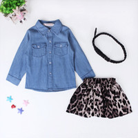 baby jean skirt - New Baby Girls Skirt Clothing Sets Children Autumn Fashion Long Sleeve Jean Shirt Leopard Skirt Outfits Suit