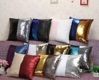 Wholesale Mermaid Sequin Pillow Cover Glamour Square Pillow Case Cushion Cover Home Sofa Car Decor Mermaid Bright Pillow Covers cm