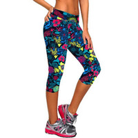 Wholesale 2016 Brand Women Sports Leggings High Waist Floral Printed Yoga Pants Gym Lady s Fitness Workout Casual Sport Pants Leggins