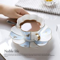 Wholesale Classical Bone China coffee Mugs with plate Handgrip Eco Friendly factory directly sold
