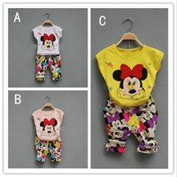 minnie - 3 Color girl Mickey Minnie dot bowknot Suits new children cartoon Short sleeve T shirt trousers Suit kids clothes B001