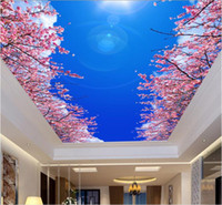 Wholesale 3d wallpaper custom photo non woven mural wall sticker d blue sky cherry blossom ceiling mural painting d wall room murals wallpaper