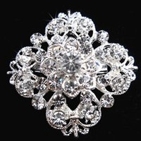 Wholesale 30mm Round Rhinestone Crystal Buckles Brooches mm Bar Invitation Ribbon Chair Covers Slider Sashes Bows Buckles Wedding Supplies