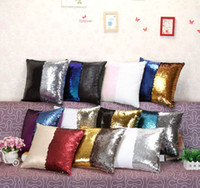 Wholesale Sequins Pillow Case Glow Pillowslip Sequin Reversible Cushion Cover Glamour Square Pillow Case Sofa Car Decor Mermaid Pillow Covers E33
