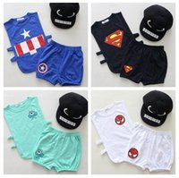 babay suit - Newly Superman Baby Kids Summer Suits Spiderman Captain America Tank Top Pants Short Sets Babay Kids Summer Clothing Set Kids Clothes