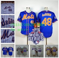 Wholesale Jacob deGrom New York Mets Jacob deGrom Jerseys World Series Patch white Blue size XS small S XL top quality