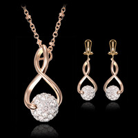 Wholesale Necklace Earrings Jewelry Set Fashion Women Exquisite Luxury Rhinestone Balls K Gold Plated Party Jewelry Piece Set JS099
