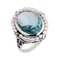 antique aquamarine jewelry - European and American fashion women jewelry antique jewelry replica natural pearl aquamarine sterling silver cocktail ring