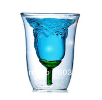 Wholesale Hong Kong ZOYO Rose Bowl Double wall Glass Cup Red Wine Rose Glass Cup Spirits Romantic Creative Valentine s Day ML