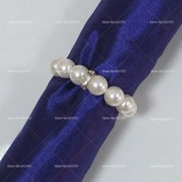 Wholesale Imitation Pearl Napkin Rings With Elastic For Wedding And Hotel With Diamond Soft Decoration For Napkin Rings