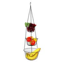 Wholesale KG Tier Hanging Fruit Vegetable Kitchen Storage Metal Basket Black Color Folding AvailablebFor Home Decoration Christmas Gift Basket Metal