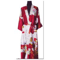 Others bath paintings - Burgundy Fashion Chinese Women s Polyester Satin Painted Kaftan Peri Kimono Bath Robe Gown Bathrobe With Belt Plus size M XXXL