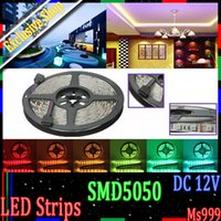 Wholesale Waterproof flexible LED Strip m v IP65 m cool white warm white red yellow blue green RGB color soft light strip