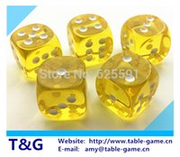 Wholesale pc set T amp G dice High Quality mm Transparent Yellow Round Dice Playing