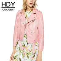 baby biker jacket - HDY Haoduoyi Baby Pink PU Short Biker Jacket Long Sleeve Lapel Neck Pockets Coat Sweet Casual Streetwear Outwear Women Colthes