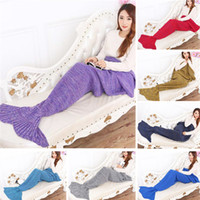 Wholesale Crochet Mermaid Tail Blanket Super Soft Warmer Blanket Bed Sleeping Costume Air condition Knit Blanket Autumn Winter