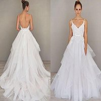 alvina valenta bridal - Spaghetti Straps A Line Wedding Dresses Backless Sweep Train Organza Wedding Gown Alvina Valenta Bridal Gown