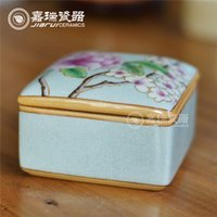 hand painted jewelry box - Quadrate hand painted ceramic Jewelry holder Women floral birds pattern ceramic box Chinese Arts and Crafts Household furnishing