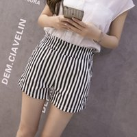 Wholesale 2016 new summer striped shorts Large Size loose waist casual shorts wide leg shorts for women A8851