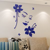 acrylic headboard - Exquisite three dimensional wall stickers acrylic flowers d pattern romantic woman headboard wall stickers flower wall stickers