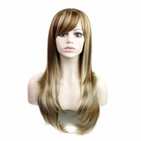 Wholesale harajuku gradient brown blonde wig fluffy drag queen hair wig cosplay long straight wigs with bang heat resistant synthetic wigs