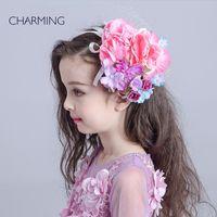 Wholesale Hair flower korean Kids beauty contest And wedding hair tiara Kids dresses for girls Best flower girl Product supplier china