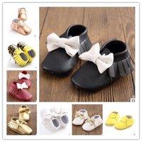 Wholesale Baby Soft bottom PU bowknot Moccasins Walker shoes Toddler sequins Tassel infant Shoes cm