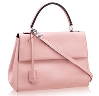 bag trimmings - Cluny MM M41334 Rose Ballerine Épi Cowhide Leather Tote and Shoudler Bags Smooth Cowhide Leather Trim Microfiber Lining Removable Strap