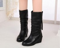 Wholesale Authentic genuine leather boots autumn winter boots hot selling new women shoes Brand In tube black snow boots women boots shoes wedges
