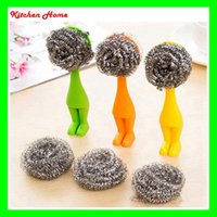Wholesale DHL Free Lovely Creative Standable Household Kitchen Dish Pot Bowl Washing Brush Cleaning Brush Shy villain style vertical Steel Wire brush