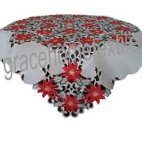 Wholesale Party Table Cover Linen Embroidered Christmas Tablecloths Red X MAS Square Handmade Polyester Overlay Cutwork X85CM Full Work X36 quot