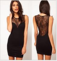 Wholesale Summer fashion Europe slim lace backless sleeveless chiffon stitching perspective nightclub package hip skirt xl