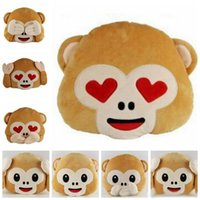 Wholesale Emoji Monkey Pillows Emoji Stuffed Dolls Monkey Plush Toys No Saying No Looking Throw Pillows No Listening Chair Couch Cushion Gifts