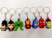 Wholesale 800pcs New arrive Superman Batman Spider Man cartoon anime boy Keychain sided soft toys for kids D209