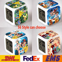 Wholesale 56 Style Table Clocks Creation Poke D Led Alarm Clock Cartoon Action Color Digital Daily Desk Table Clocks For Third Side WX C01