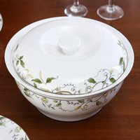 autumn tableware - 2016 New Arrivals Hot selling Inch High Quality Bone China Dinnerware Tableware Golden Autumn Soup Pots With Cover Tureens